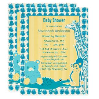 Giraffen-Affe-Alligatorbaby-Teddybär-Jungen-Dusche Karte