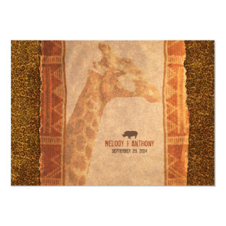 Giraffen-afrikanische Safari-Hochzeits-Einladung 12,7 X 17,8 Cm Einladungskarte