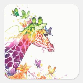 Giraffen-Aquarell Quadratischer Aufkleber