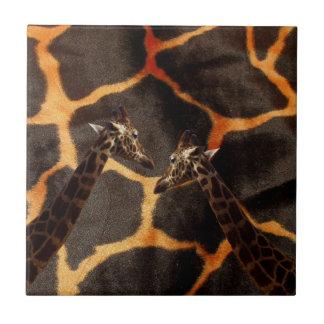Giraffen auf exotischem Giraffen-Hintergrund, Keramikfliese