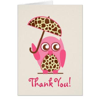 Giraffen-Druck-Eulen-Babyparty danken Ihnen Grußkarte