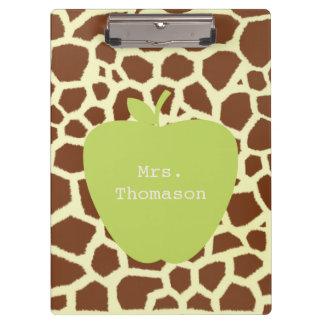 Giraffen-Druck-Grün-Apple-Lehrer-Klemmbrett