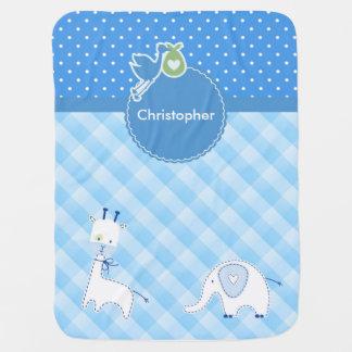 Giraffen-Elefant-Schachbrett-Polkapunkte Kinderwagendecke