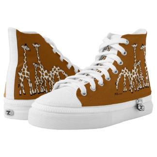 Giraffen-Familie in Brown und im beige hohen Hoch-geschnittene Sneaker