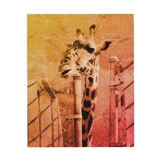 Giraffen-Fotografie Holzleinwand