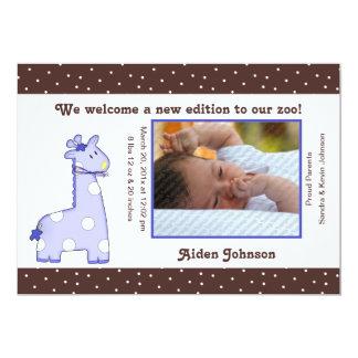 Giraffen-Geburts-Mitteilung (blau) 12,7 X 17,8 Cm Einladungskarte