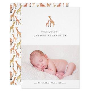 Giraffen-Geburts-Mitteilung Karte