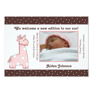 Giraffen-Geburts-Mitteilung (Rosa) 12,7 X 17,8 Cm Einladungskarte