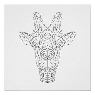 Giraffen-geometrische schwarze u. weiße poster