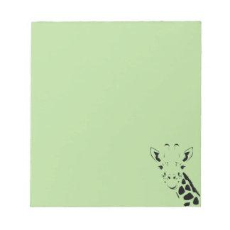 Giraffen-Gesichts-Silhouette Notizblock