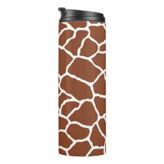 Giraffen-Haut-Muster Browns weißes Thermosbecher