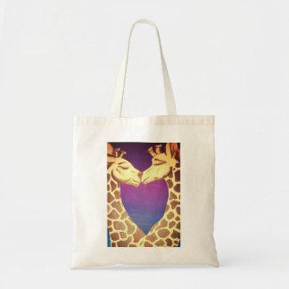 Giraffen in der Liebe Budget Stoffbeutel