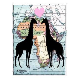Giraffen in der Liebe Postkarte