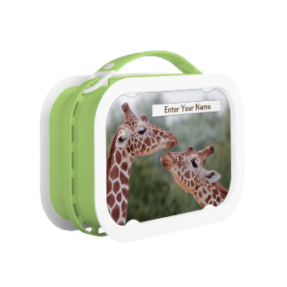 Giraffen in LiebeLunchbox (tragen Sie Ihren Namen) Brotdose