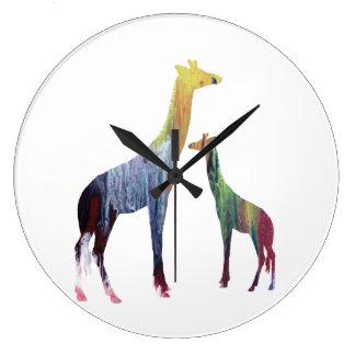 Giraffen-Kunst Große Wanduhr