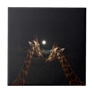 Giraffen-Liebe im Mondschein, Fliese