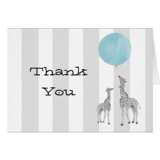 Giraffen mit Ballon danken Ihnen Anmerkungs-Karte Karte