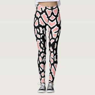 Giraffen-Muster-Rosa Schwarz-weißes Legging Leggings