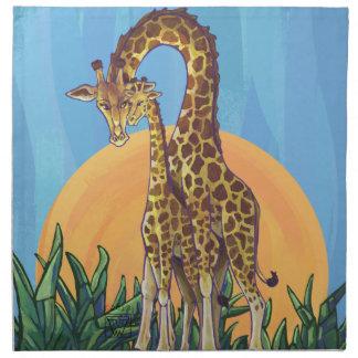 Giraffen-Mutter und Baby Serviette