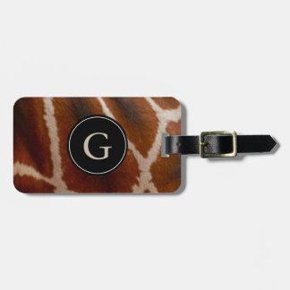 Giraffen-Pelz-mit Monogramm | wilder Kofferanhänger