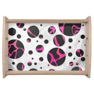Giraffen-Pink-und Schwarz-Druck Tablett