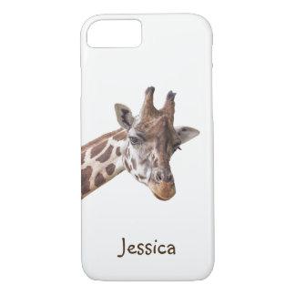 Giraffen-Porträt auf weißem Girly Namen iPhone 8/7 Hülle