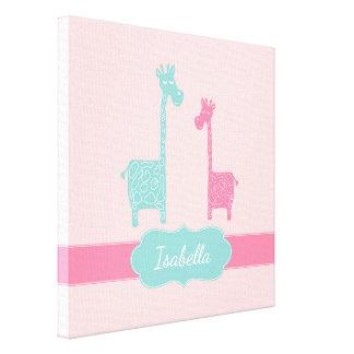 Giraffen-rosa tadelloses Aqua-aquamarine Leinwanddruck