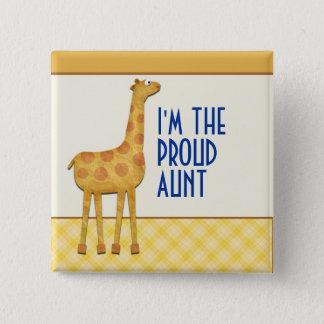 Giraffen-stolze Tante/Tante Pin Quadratischer Button 5,1 Cm