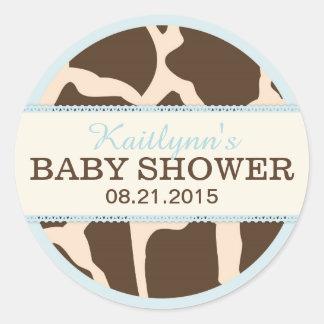 Giraffen-Tierdruck und blauer Babyparty-Aufkleber Runder Aufkleber