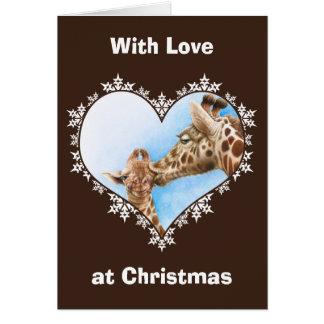 Giraffen-u. Kalb-Schneeflocke-Herz-Weihnachtskarte Grußkarte