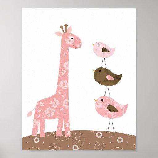 Giraffen- und Vogel-Kinderzimmerkunst Posterdruck