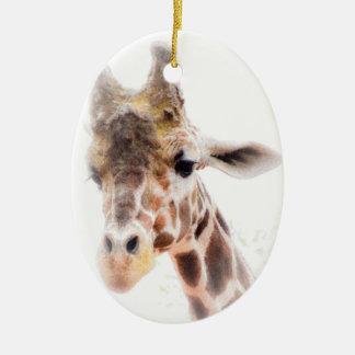 Giraffen-Verzierung Ovales Keramik Ornament
