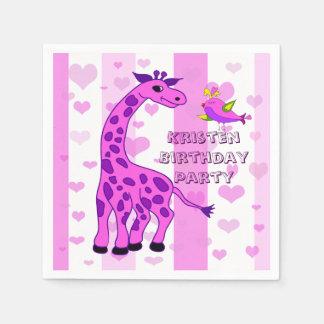 Giraffenillustration in der rosa Farbe Papierserviette