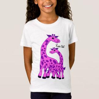 Giraffenillustration in der rosa Farbe T-Shirt