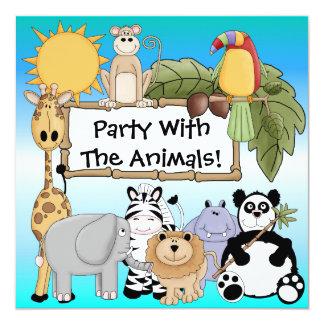 Giraffezebra-Löwe-Zoo-Tier-Geburtstags-Einladung Quadratische 13,3 Cm Einladungskarte