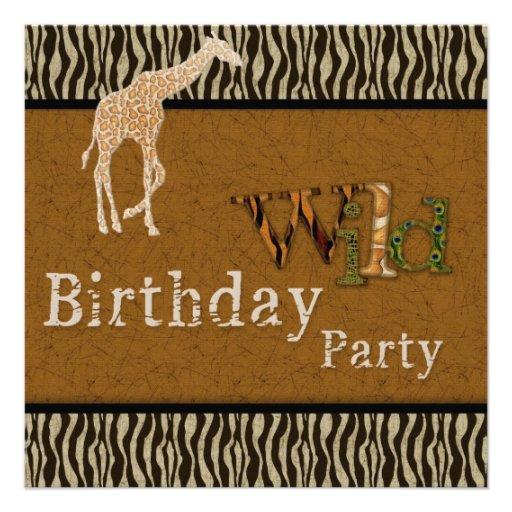 Giraffezebra-Safari-Zoo-Geburtstags-Party Einladun Ankündigung