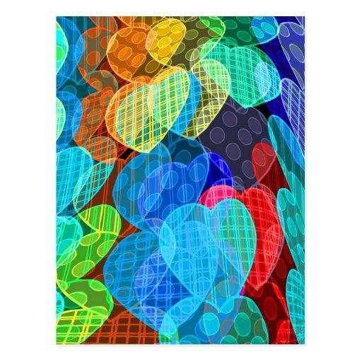 Girlanden der Pastell farbigen Herzen Postkarte