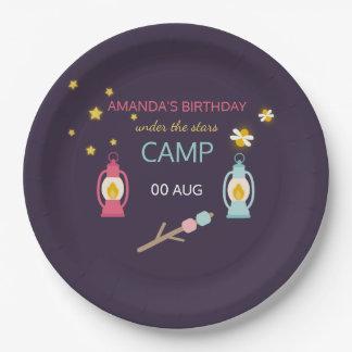 Girlie Glamping Geburtstags-Party personalisiert Pappteller