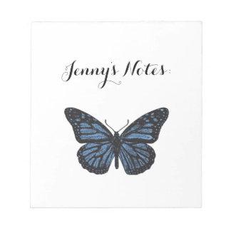 Girlie Vintages Monarch-Schmetterlings-Blau Notizblock