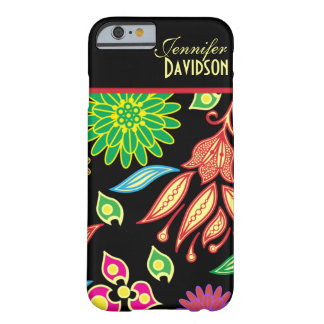 Girly abstrakter schwarzer Blumenmonogramm iPhone Barely There iPhone 6 Hülle