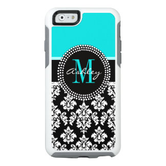 Girly Aqua-Schwarz-Damast Ihr Monogramm-Name OtterBox iPhone 6/6s Hülle