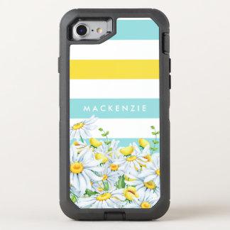 Girly Aqua-Streifen mit gelben Gänseblümchen und OtterBox Defender iPhone 8/7 Hülle