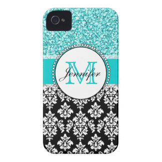 Girly, aquamarin, Glitzer-schwarzer Damast iPhone 4 Cover
