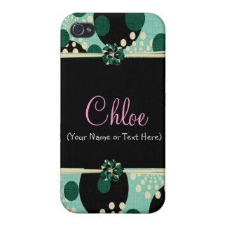 Girly aquamarine Polkapunkte Etui Fürs iPhone 4