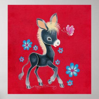 Girly Baby-Esel mit Blumen Poster