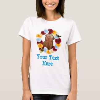 Girly Bärenjungs-Blumen-Gingham T-Shirt