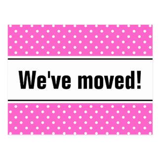Girly bewegliche Postkarten | rosa und weiße Tupfe