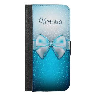 Girly blaue Glitter iPhone 6 Plusgeldbörsen-Kasten