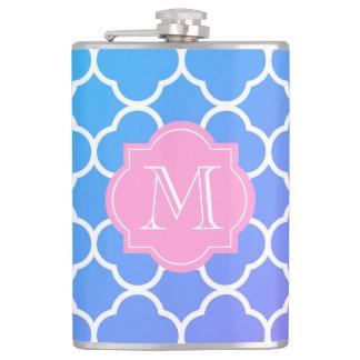 Girly blaue Quatrefoil kundenspezifische rosa Flachmann