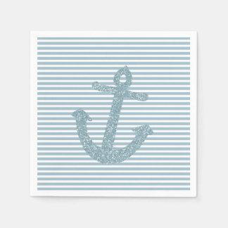 Girly blauer Glitter-Anker Papierservietten